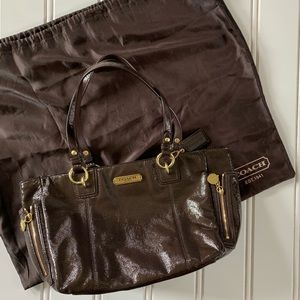 Coach Brown Patent Leather Bag